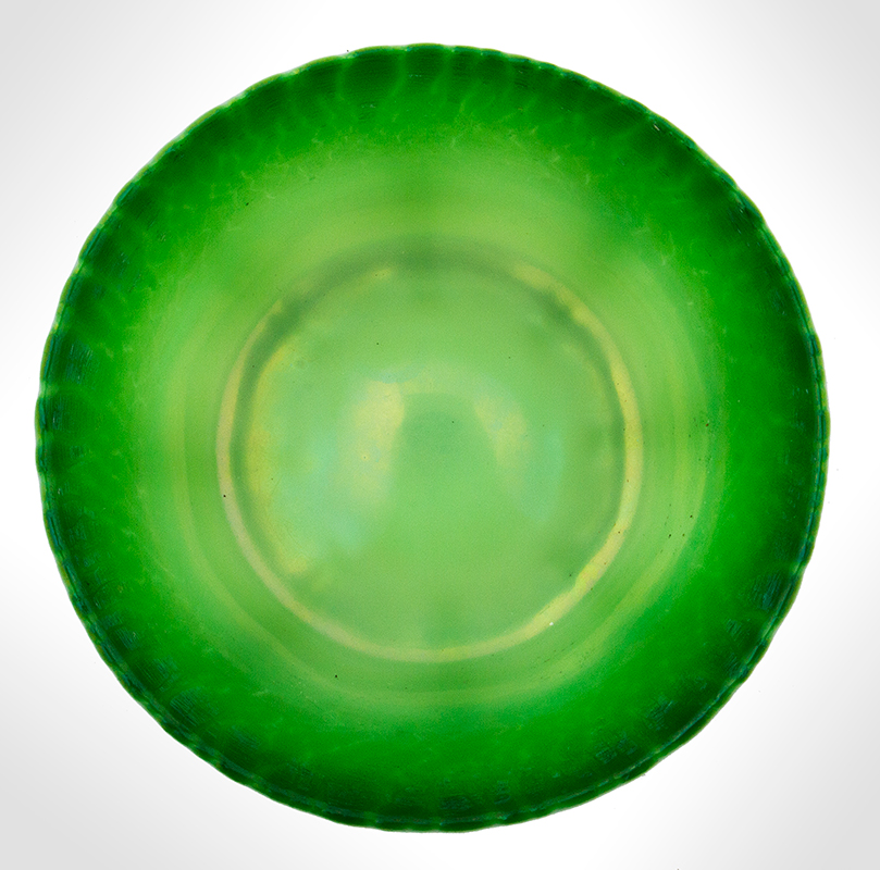 "Tiffany Experimental Pastel Green Bowl, Onion Skin Rim, Exquisite  Signed on Underside ""L.C.T. x395"", Original Tiffany Studios Label, interior"