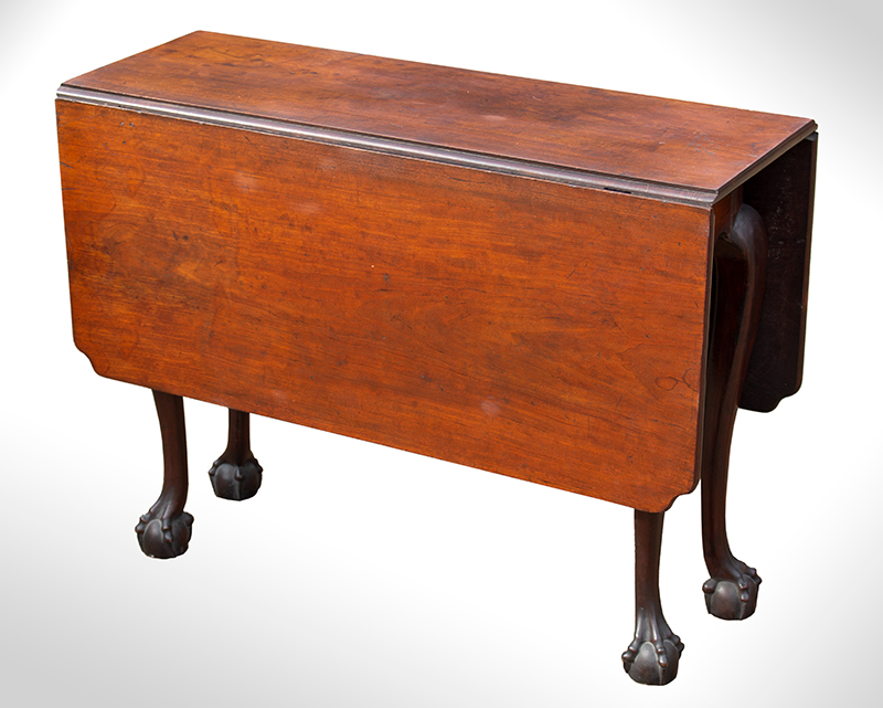 Period Chippendale Carved Drop Leaf Table, Claw & Ball Feet Marblehead or Salem, Massachusetts, entire view 1