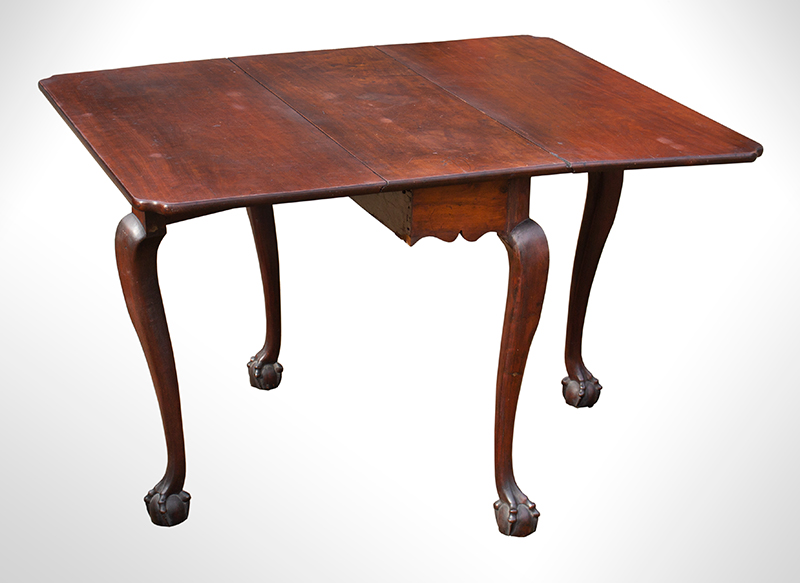 Period Chippendale Carved Drop Leaf Table, Claw & Ball Feet Marblehead or Salem, Massachusetts, entire view 3
