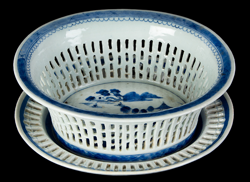 Chinese Export Porcelain, Canton, Basket & Underplate, Reticulated, entire view 1