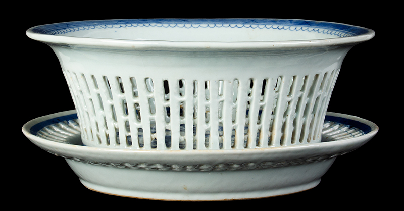 Chinese Export Porcelain, Canton, Basket & Underplate, Reticulated, entire view 2