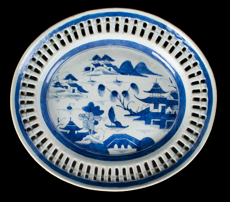 Chinese Export Porcelain, Canton, Basket & Underplate, Reticulated, entire view 3