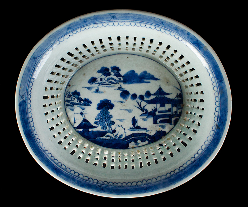 Chinese Export Porcelain, Canton, Basket & Underplate, Reticulated, entire view 4