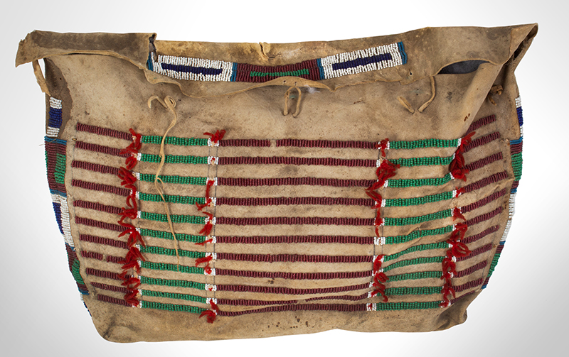 Native American Beaded Hide Possible Bag, Rectangular Teepee Bag American, Plains, entire view