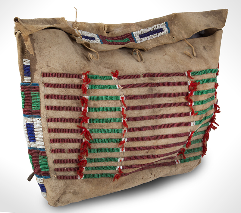 Native American Beaded Hide Possible Bag, Rectangular Teepee Bag American, Plains, entire view 3