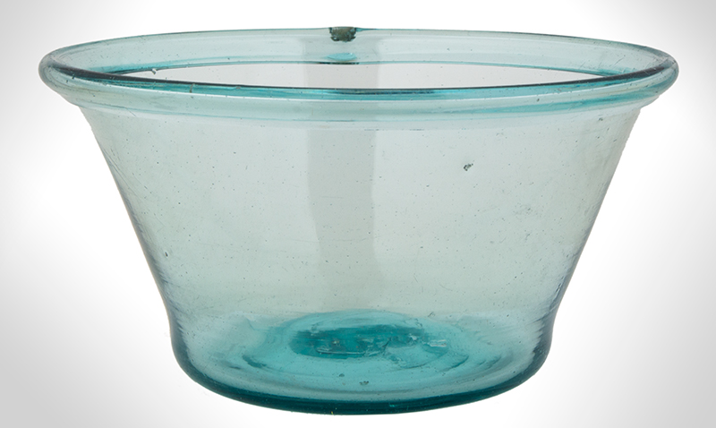 Free Blown Flaring Bowl, Aquamarine, entire view 1