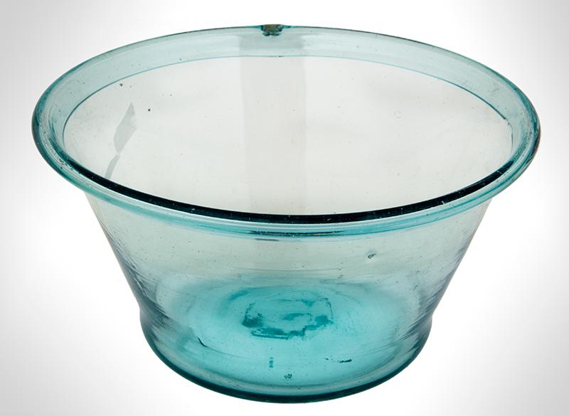 Free Blown Flaring Bowl, Aquamarine, entire view 2