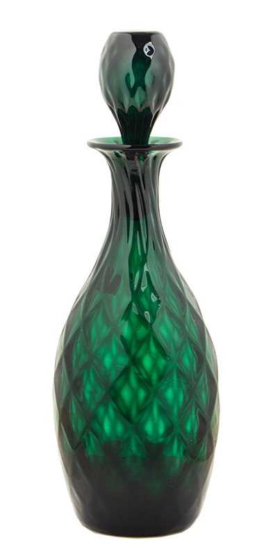 Blown Glass Decanter with Stopper, Emerald Green, Expanded Diamond Pattern Likely Bristol, England, entire view 1