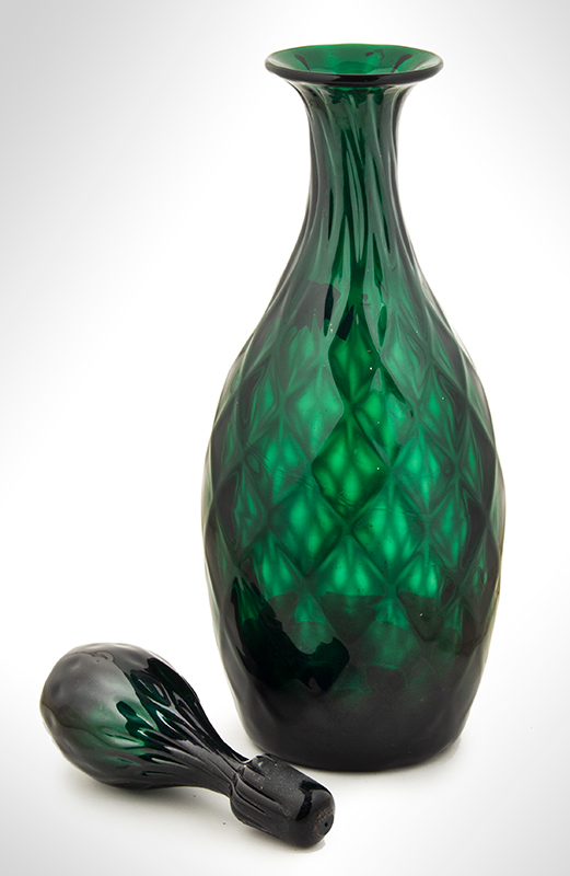 Blown Glass Decanter with Stopper, Emerald Green, Expanded Diamond Pattern Likely Bristol, England, entire view 3