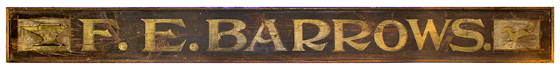 Nineteenth Century Trade Sign, Blacksmith, F.E. Barrows, Anvil & Loping Horse Paris, Maine, entire view