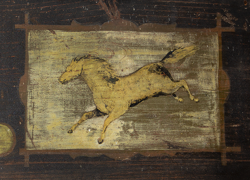 Nineteenth Century Trade Sign, Blacksmith, F.E. Barrows, Anvil & Loping Horse Paris, Maine, detail view 1