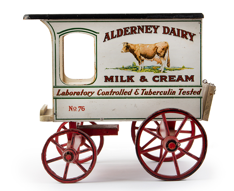 Schoenhut Milk Wagon, Alderney Dairy, Original Paint & Milk Case, 6 Bottles Schoenhut wagons were offered in their 1929 catalog…, entire view 1