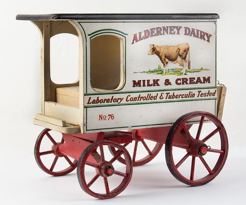 Schoenhut Milk Wagon, Alderney Dairy, Original Paint & Milk Case, 6 Bottles Schoenhut wagons were offered in their 1929 catalog…, entire view 2