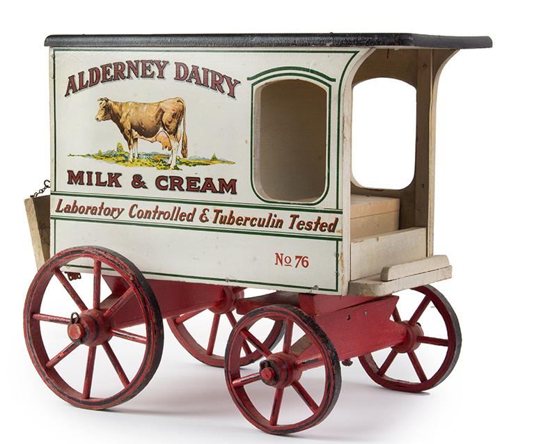 Schoenhut Milk Wagon, Alderney Dairy, Original Paint & Milk Case, 6 Bottles Schoenhut wagons were offered in their 1929 catalog…, entire view 3