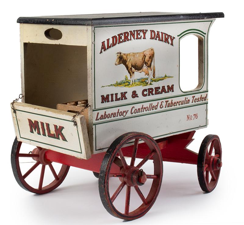 Schoenhut Milk Wagon, Alderney Dairy, Original Paint & Milk Case, 6 Bottles Schoenhut wagons were offered in their 1929 catalog…, entire view 4