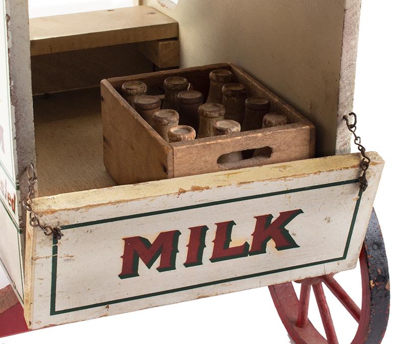 Schoenhut Milk Wagon, Alderney Dairy, Original Paint & Milk Case, 6 Bottles Schoenhut wagons were offered in their 1929 catalog…, detail view