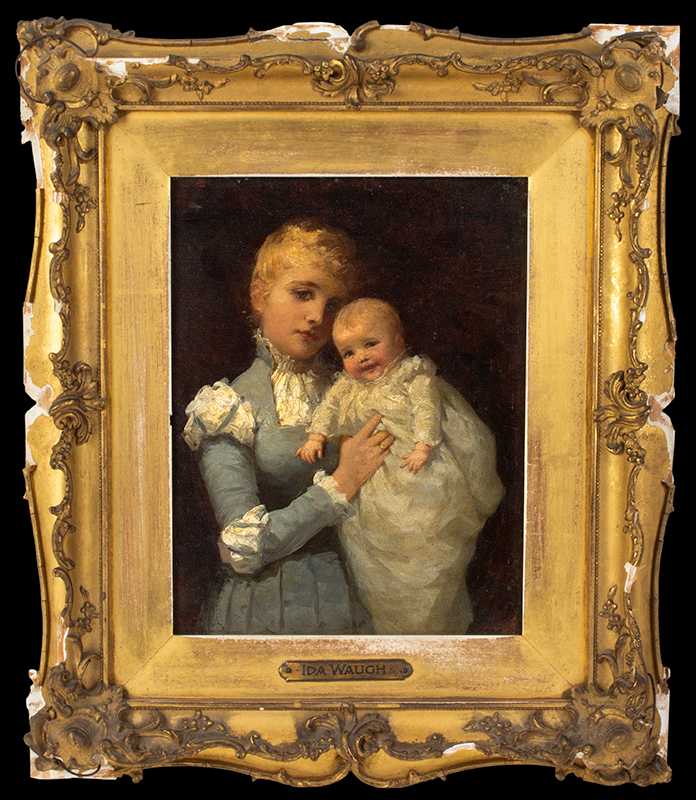 """Ida Waugh, (1846-1919) Young Mother, Portrait, Mother and Child Signed and titled on the reverse """"Young Mother by Ida Waugh, 4100 Pine St., Philadelphia, Penna""""., entire view 1"""