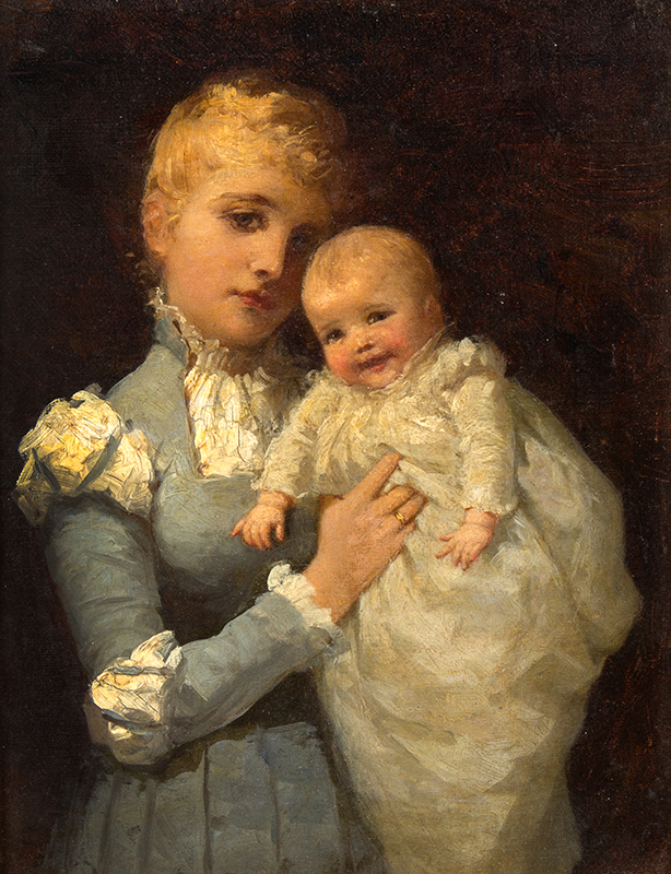 """Ida Waugh, (1846-1919) Young Mother, Portrait, Mother and Child Signed and titled on the reverse """"Young Mother by Ida Waugh, 4100 Pine St., Philadelphia, Penna""""., sans frame"""