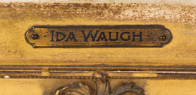 """Ida Waugh, (1846-1919) Young Mother, Portrait, Mother and Child Signed and titled on the reverse """"Young Mother by Ida Waugh, 4100 Pine St., Philadelphia, Penna""""., artist detail"""