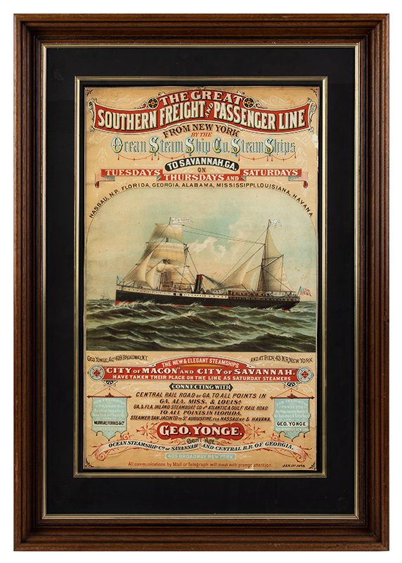 Antique Advertising Poster GREAT SOUTHERN FREIGHT & PASSENGER LINE, entire view