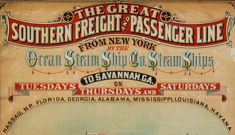 Antique Advertising Poster GREAT SOUTHERN FREIGHT & PASSENGER LINE, detail view 1
