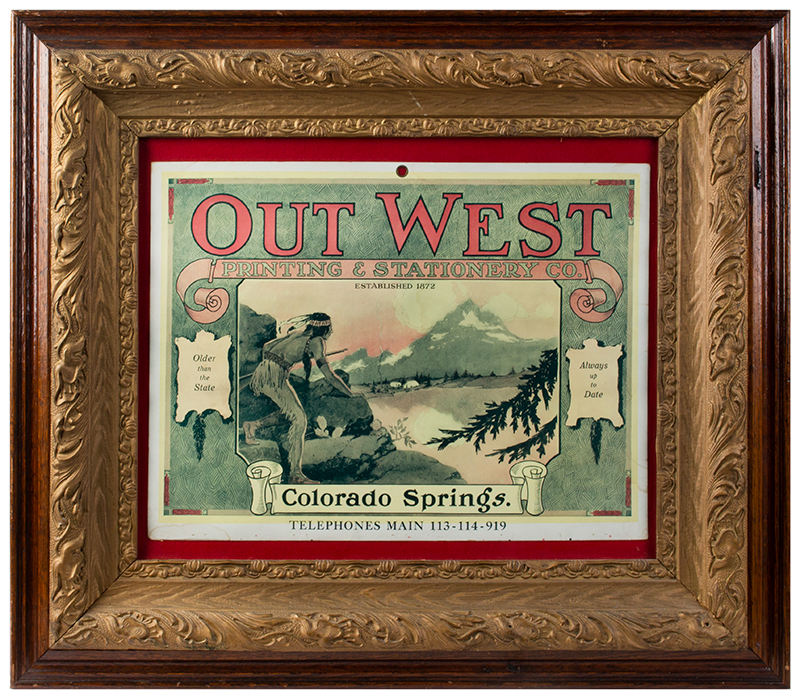 Lithographic Advertisement, Out West Printing & Stationery, Colorado, entire view
