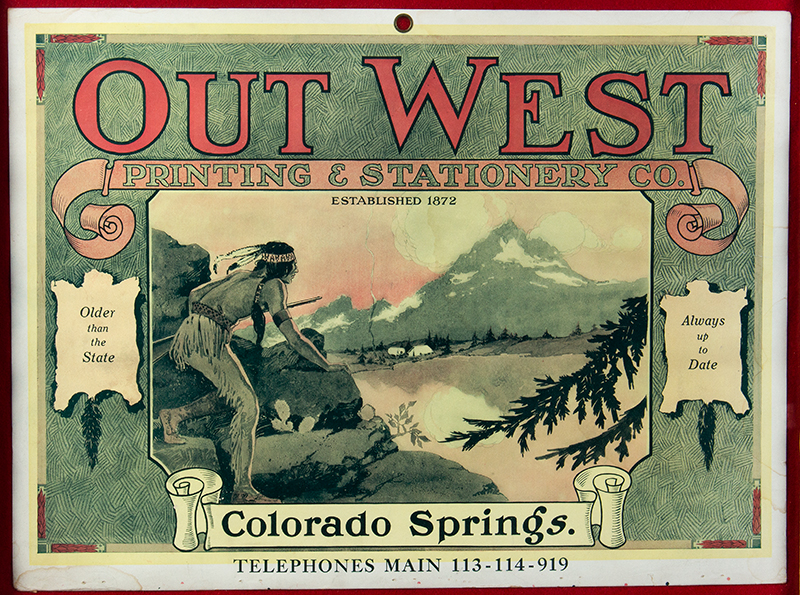 Lithographic Advertisement, Out West Printing & Stationery, Colorado, entire view sans frame
