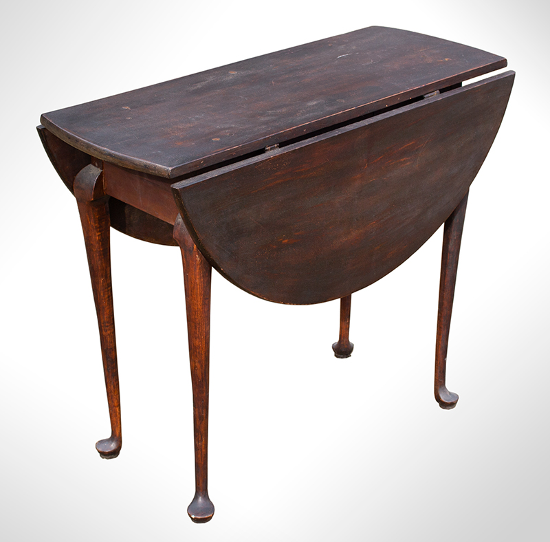 Period Queen Anne Country Drop Leaf Table, Original Dark Surface, entire view 1