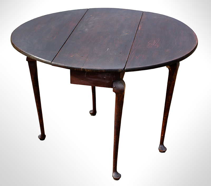 Period Queen Anne Country Drop Leaf Table, Original Dark Surface, entire view 2