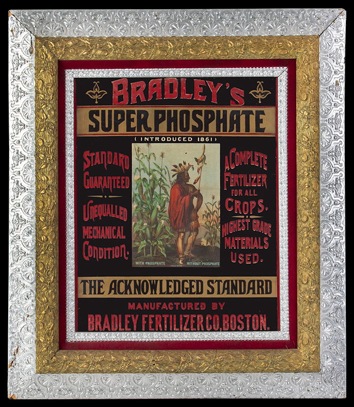 19th Century Hand Painted Advertising Banner Cloth Advertising Sign - Bradley's Super Phosphate Manufactured by Bradley Fertilizer Co, Boston, entire view