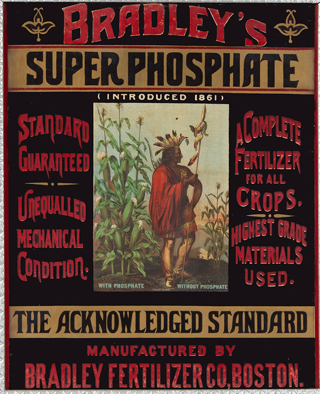 19th Century Hand Painted Advertising Banner Cloth Advertising Sign - Bradley's Super Phosphate Manufactured by Bradley Fertilizer Co, Boston, entire view sans frame