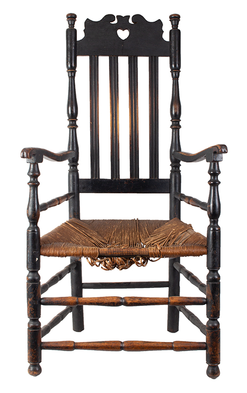 Heart and Crown Crest Banister Back Armchair, entire view