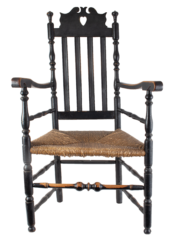 Heart and Crown Crest Banister Back Armchair, entire view 2