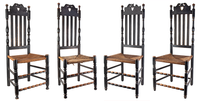 Heart & Crown Crest Banister Back Side Chairs, Assembled Set of Four, entire view 1