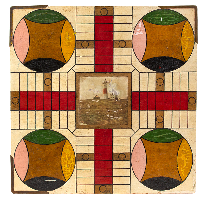 Vintage Gameboard, Checkers & Parcheesi, Original Paint, entire view side 1