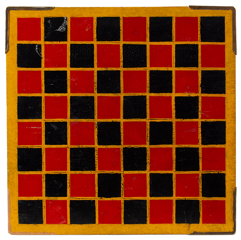 Vintage Gameboard, Checkers & Parcheesi, Original Paint, entire view side 2