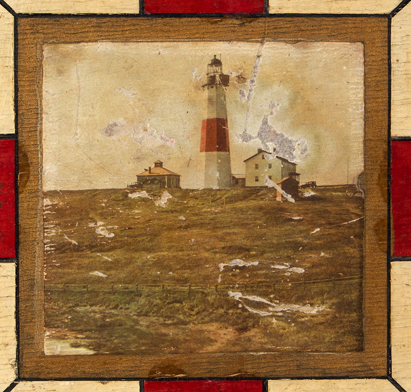 Vintage Gameboard, Checkers & Parcheesi, Original Paint, detail view