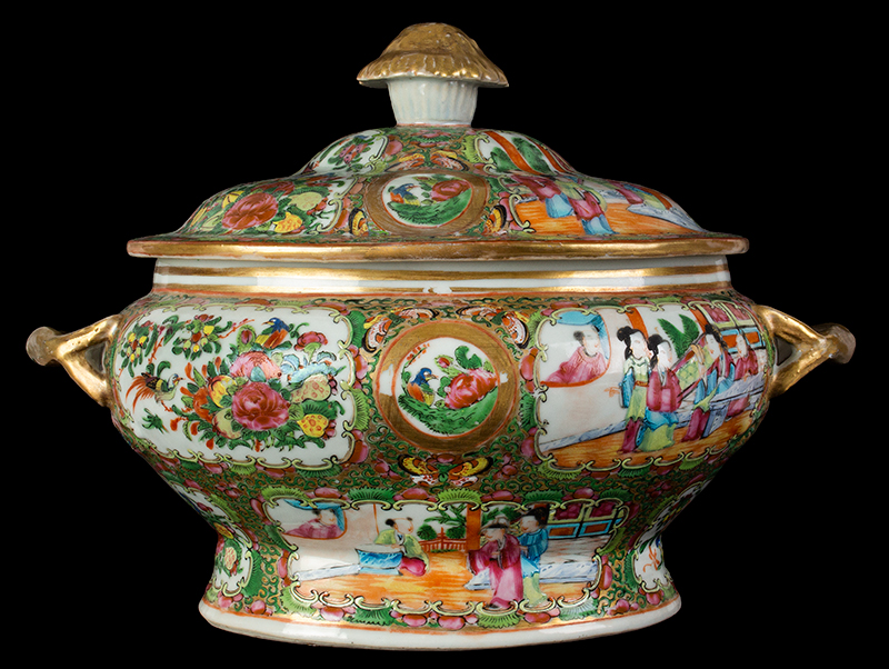 Chinese Export Rose Medallion Tureen & Cover, Mandarin Scenes, entire view 1