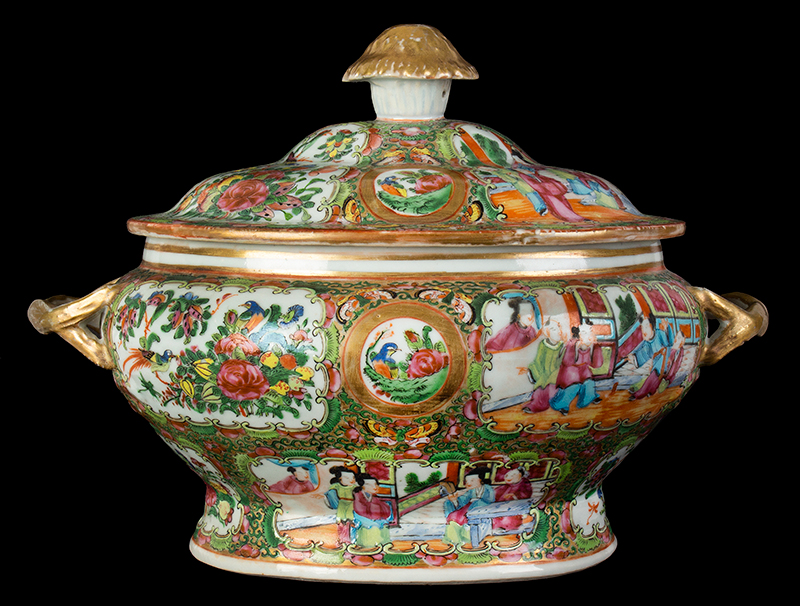 Chinese Export Rose Medallion Tureen & Cover, Mandarin Scenes, entire view 3