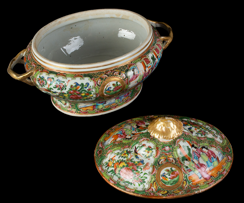 Chinese Export Rose Medallion Tureen & Cover, Mandarin Scenes, entire view 4