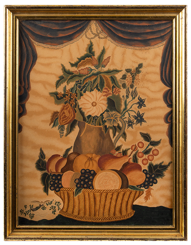 Fruit and Flowers, Folk Art Composition, Water Colored Print After Wealthy O. Swain Owned by Jean Lipman, entire view