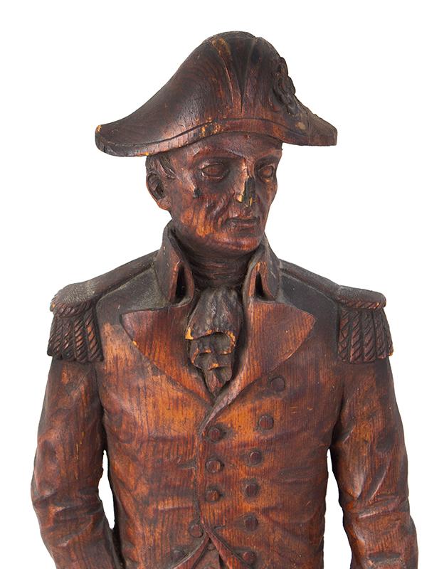 Detailed Carving of Navy Admiral or Captain, Chapeau de Bras, Epaulettes, detail view 1