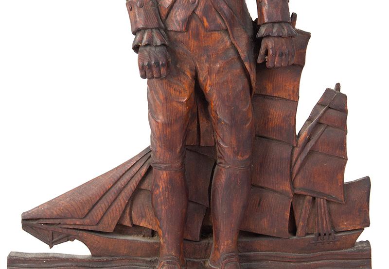 Detailed Carving of Navy Admiral or Captain, Chapeau de Bras, Epaulettes, detail view 2