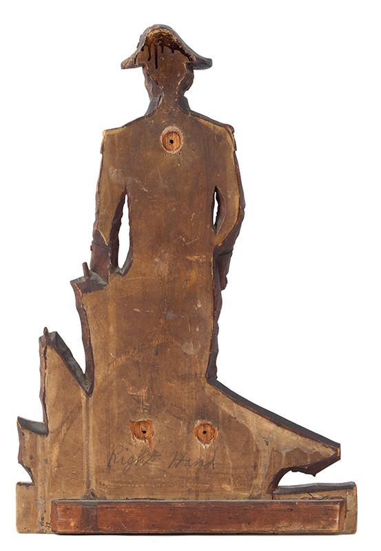 Detailed Carving of Navy Admiral or Captain, Chapeau de Bras, Epaulettes, back view