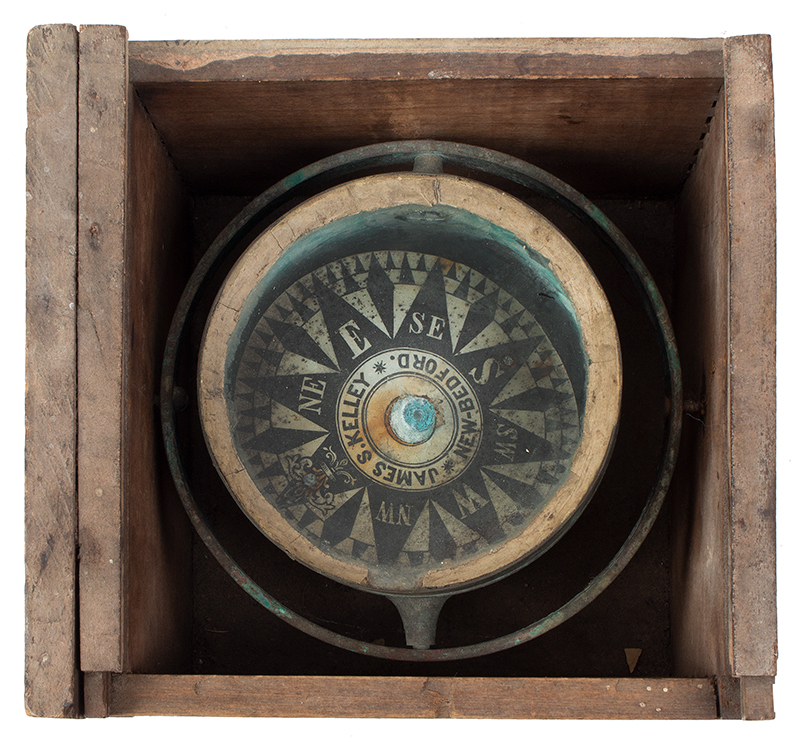 """Whaleboat Compass, James S. Kelley, New Bedford, Inscribed """"WB"""" [Waist Boat] Gimbaled Dry Card Compass, Painted Machine Dovetail Joined Box, entire view"""