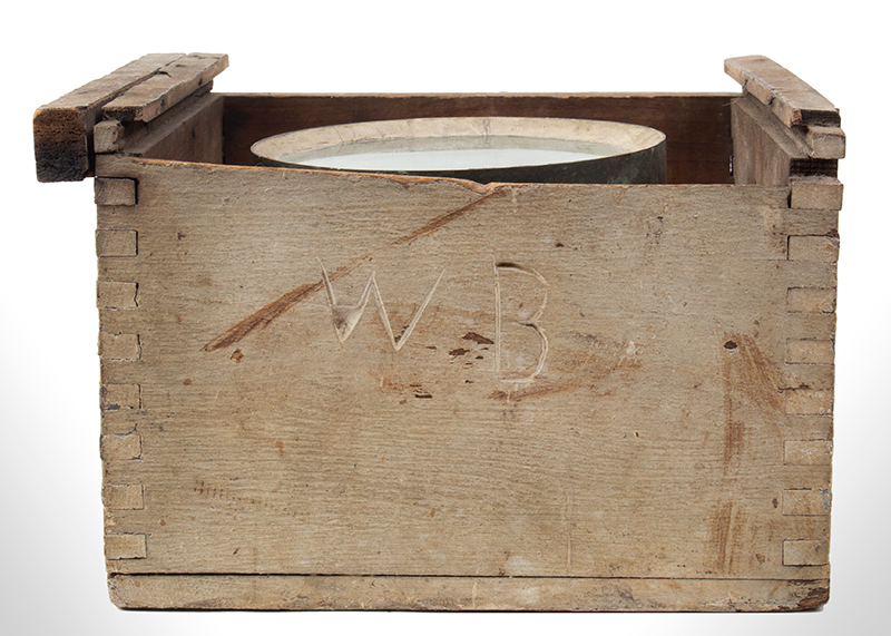 """Whaleboat Compass, James S. Kelley, New Bedford, Inscribed """"WB"""" [Waist Boat] Gimbaled Dry Card Compass, Painted Machine Dovetail Joined Box, entire view 3"""