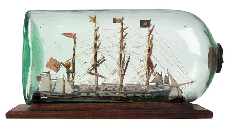 Antique Model Ship in Bottle Presentation, The William Metcalf of Liverpool, entire view 1