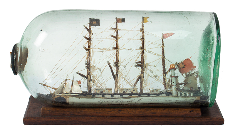 Antique Model Ship in Bottle Presentation, The William Metcalf of Liverpool, entire view 2