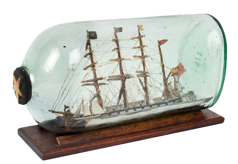 Antique Model Ship in Bottle Presentation, The William Metcalf of Liverpool, entire view 3