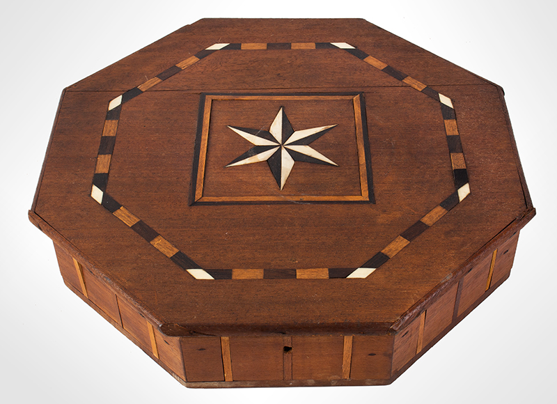 Antique, Sailor Made Octagonal Box, Compass Star Inlay, Fitted Interior, entire view 2